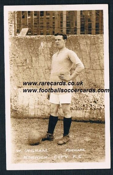 1911 William Ingham Norwich City postcard ex- Plymouth WHU Gainsborough Accrington